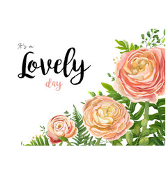 Floral watercolor card design with pink peach rose vector