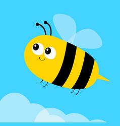 flying bee icon big eyes cute cartoon funny baby vector image