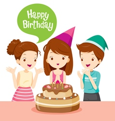 Girl And Friend With Cake On Birthday Party vector