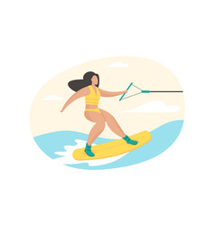 Girl engaged in sapperfing artificial surfing vector
