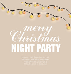 glowing lights merry christmas night party vector image