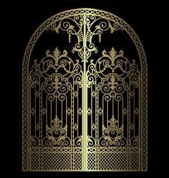 Golden arched gate vector