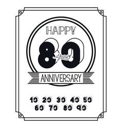 Happy anniversary card with decades vector