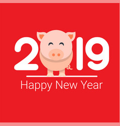 Happy new year 2019 pig chines new year vector
