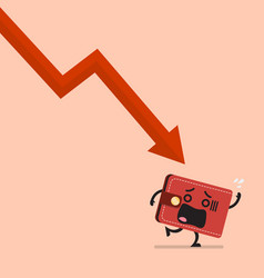heavy debt falling to frightened wallet vector image