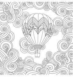 Hot air balloon in entangle inspired doodle style vector