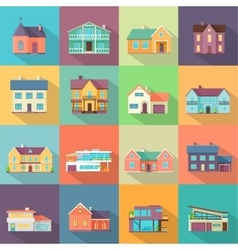 Houses Set Architecture Variations Flat Design vector