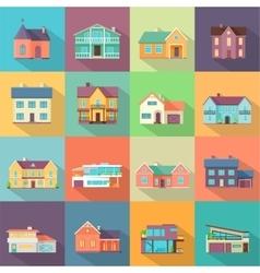 Houses set architecture variations flat design vector