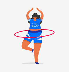 hula hoop for fitness girl plus size health vector image