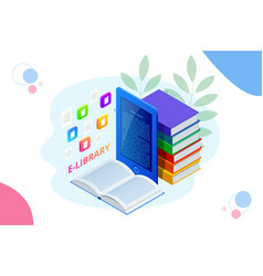 isometric web banner e-learning online library vector image