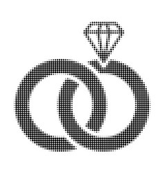 jewelry wedding rings halftone dotted icon vector image