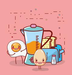 kitchen items cartoon kawaii cartoon vector image
