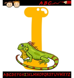 letter i for iguana cartoon vector image
