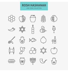 Line jewish new year holiday icons big set vector