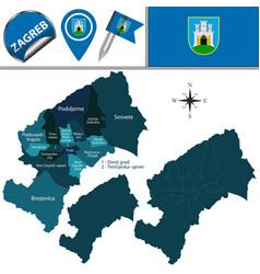 Map zagreb croatia vector