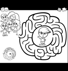 Maze activity gtame with children vector
