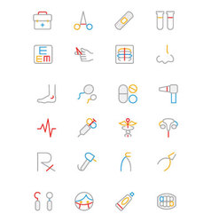 Medical Colored Outline Icons 4 vector