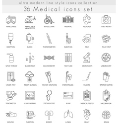 Medical ultra modern outline line icons for vector image