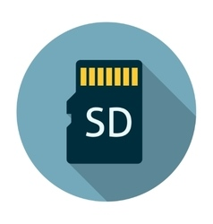 Micro sd card icon flat vector
