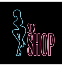 Neon banner sex shop text vector image