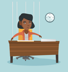 Office worker hanging on strings like marionette vector