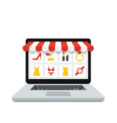 online shop laptop vector image vector image