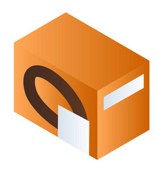 Orange biscuit box icon isometric style vector