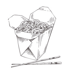 Packed noodle and chopsticks vector