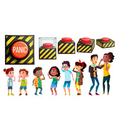 Panic characters people and red button set vector