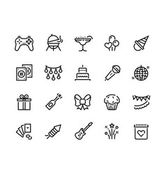 party line icons birthday celebration with gift vector image
