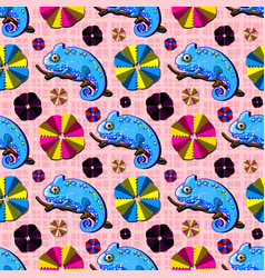 pattern with chameleon stickers and paper flowers vector image