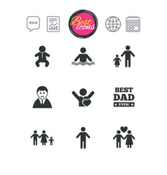 People family icons swimming pool sign vector