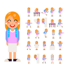 Pupil girl school children student in different vector