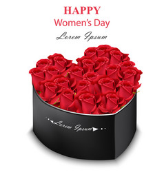 red roses black box heart shape realistic vector image