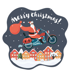santa claus with a gift riding motorbike vector image
