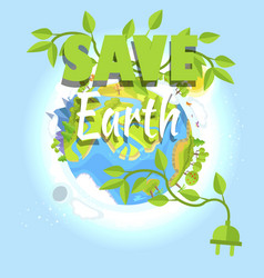 save earth logo design with planet electric plug vector image