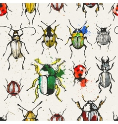 Seamless pattern with watercolor beetles vector