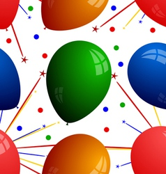 Seamless texture with balloons and fireworks vector