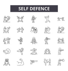 Self defence line icons signs set linear vector