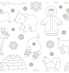 Set of eskimo characters pattern vector