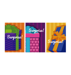 set of suprise cards vector image