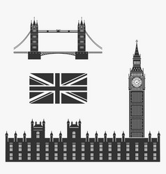 set of symbols of great britain vector image