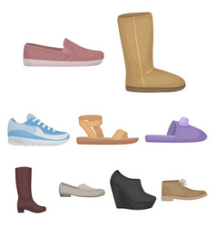 Shoes set icons in cartoon style big collection vector