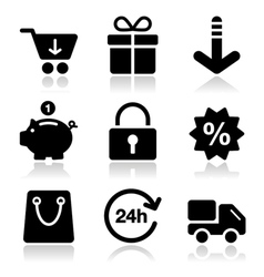 Shopping on internet black icons set with shadow vector