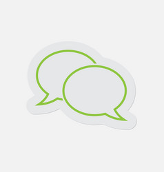 simple green icon - two outline speech bubbles vector image