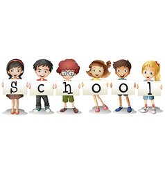 Six adorable students vector