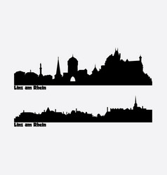 skyline two city views in germany linz am vector image