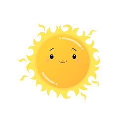 Smiling yellow sun emoji sticker isolated on white vector
