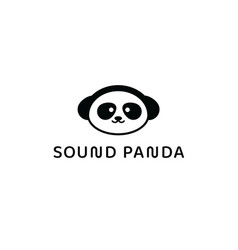sound panda app logo music playback application vector image
