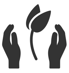 Sprout care hands flat icon vector